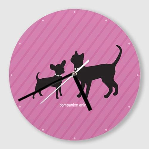 무소음 벽시계 / C052-강아지와 고양이-B